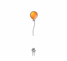 Hand loose balloon for Hand Drawn liane art concept vector illustration.