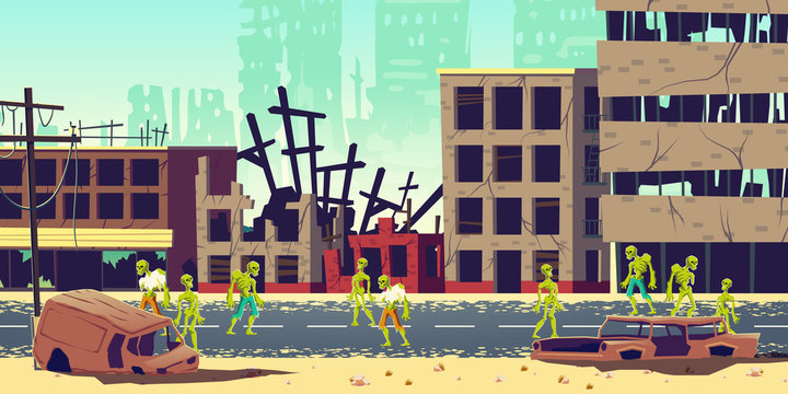 Zombie apocalypse in city concept. Lining dead, scarifying human mutants, monsters from hell walking on streets among destroyed, ruined buildings in abandoned metropolis cartoon vector illustration