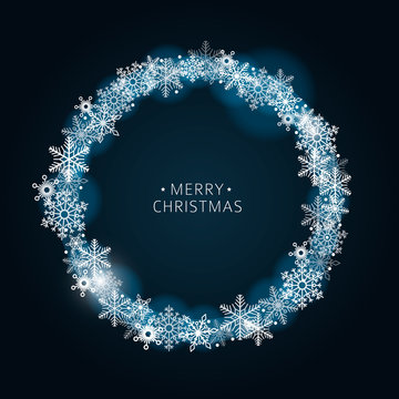 Dark vector blue background winter frame with shiny snowflakes