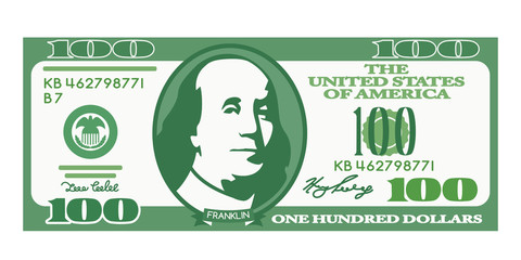 100 dollar bill with the portrait of Franklin in a cartoon style.