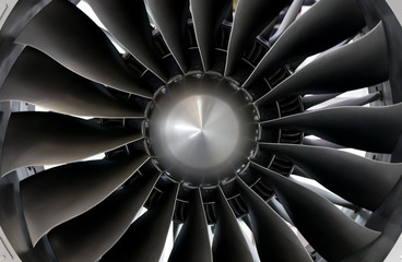 Close-up of a large jet engine turbine blades Fotomurales