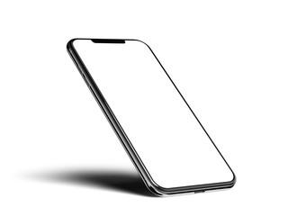 Smartphone frameless blank screen mockup template on edge isolated on white background