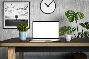 Laptop blank screen on table in minimalistic Scandinavian style interior