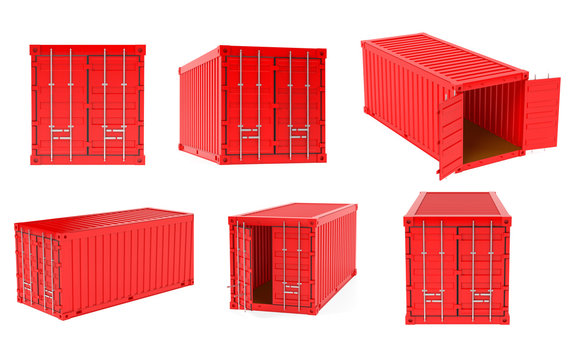 Red shipping freight containers. 3d rendering illustration