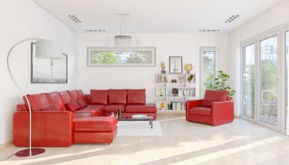 3d Illustation - Modernes Loft mit großen Fenster - Helles Wohnzimmer mit einer roten großen Couch