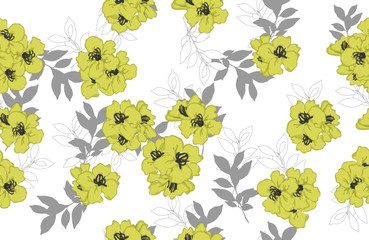 seamless pattern of yellow flowers with white and gray leaves on white background
