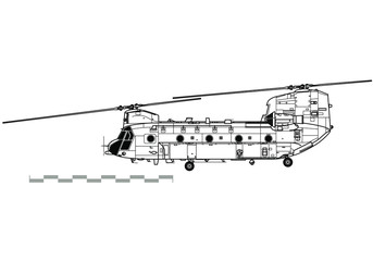 Boeing CH-47 Chinook. Outline vector drawing