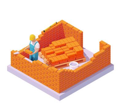 Vector isometric bricklayer building brick wall