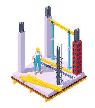 Vector isometric concrete building construction