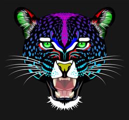 Unusual, rainbow portrait of a leopard