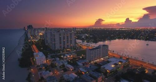 Fotobehang Aerial panorama of Hollywood skyline at sunset. Miami, Florida. 4K UHD.