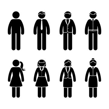 Stick figure business people standing front view black and white icon vector set. Office formal casual wear design pictogram