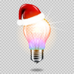 Wall Mural - Realistic transparent light bulb with christmas tree and santa hat, isolated.