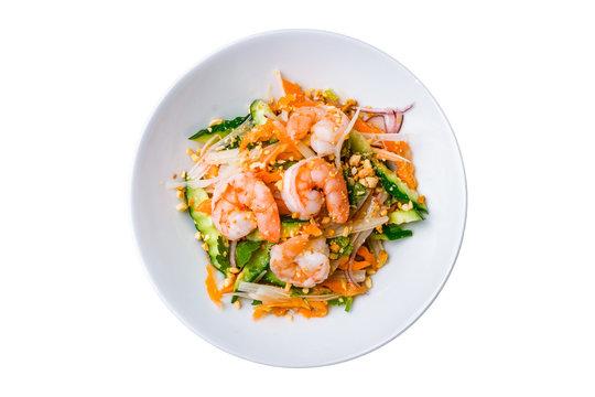 Vietnamese shrimp salad on white background isolated