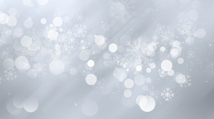white and grey snows blurred abstract background. bokeh christmas blurred beautiful shiny Christmas lights