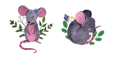 Watercolor set of cute little mouses with floral elements. Hand painted illustration isolated on white background