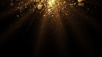 Golden particles. Abstract glamour background for celebration.