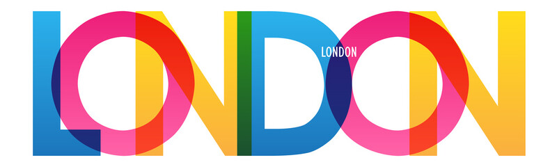 LONDON colorful vector typography banner