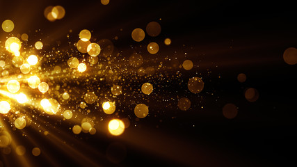 Glitter celebration texture. Golden stream with particles. Abstract background with magic lights and sparks.