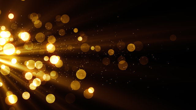 Glitter celebration texture. Abstract magic stream with golden particles, lights and sparks.