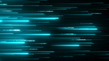 Horizontal neon beams. Blue technology background. Abstract program code moving in a cyberspace. Data flow speed concept. Software script running on a screen. Fototapete