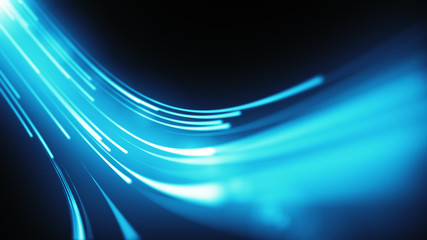 Blue neon stream. High tech abstract curve tunnel background. Striped creative texture. Information transfer in a cyberspace. Rays of light in motion.