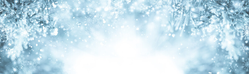 Foto op Canvas Lichtblauw white snow blur abstract background. Bokeh Christmas blurred beautiful shiny Christmas lights