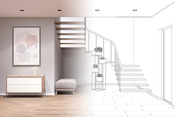 3d illustration. Sketch of entrance hall with stairs, the picture became real interior. Front view