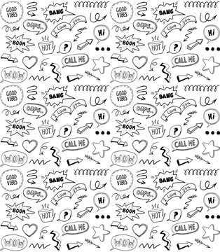Black and white doodle style seamless pattern with comic style elements