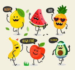 Different cute fruits are walking