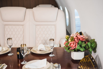 nobody in the cabin of a business class airplane  comfortable luxury travel