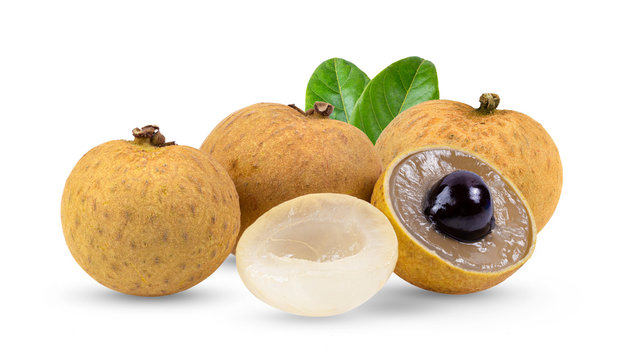 fresh longan with leaf isolated on white background. full depth of field