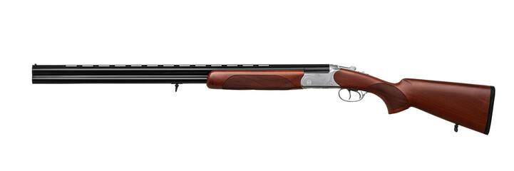 Hunting double-barrelled gun on a white background.  Double Shotgun isolated on  white back.