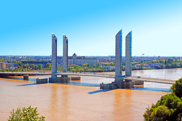 panoramic view of the city of Bordeaux and the Chaban-Delmas bridge over the river Garonne in New Aquitaine