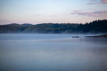 Wall Murals Lake fog over the lake