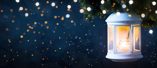 Christmas Lantern, Christmas and New Year holidays background, winter season.