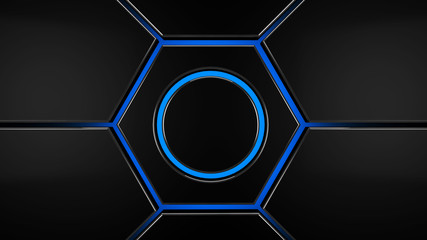 Wall Mural - Grey and blue hexagon futuristic modern background, 3d render illustration