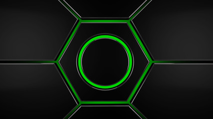 Wall Mural - Grey and green hexagon futuristic modern background, 3d render illustration