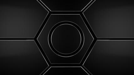 Wall Mural - metal hexagon futuristic modern background, 3d render illustration