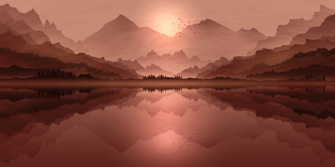 Deurstickers Zalm Mountain landscape illustration, with setting sun lake reflections, and mist in valley.