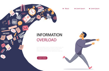 Concept of Information Overload, Digital hygiene, Stress. Overwhelmed person running away from the information stream wave pursuing him. Vector illustration in flat style.  Wall mural