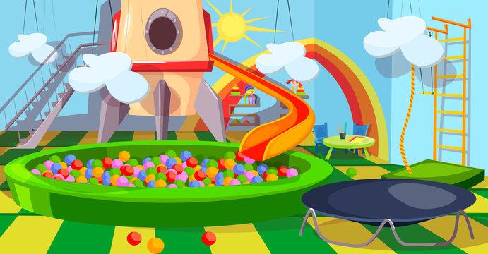 Children playroom flat vector illustration