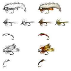 fly-fishing fly drawing set, illustration of fishing lures
