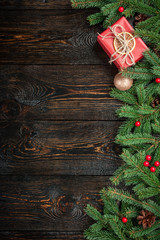 Christmas decoration background on dark wooden background
