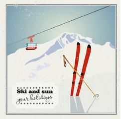 Fototapeta Vintage Winter background, poster. Red ski Lift Gondolas moving in Snow Mountains obraz
