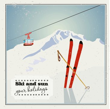 Vintage Winter background, poster. Red ski Lift Gondolas moving in Snow Mountains