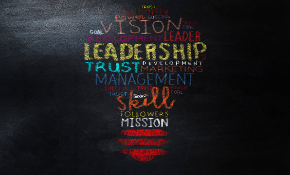 drawing LEADERSHIP light bulb word cloud collage on chalkboard with colorful chalk