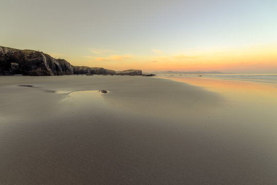 First Daylight on the Beach of As Catedrais