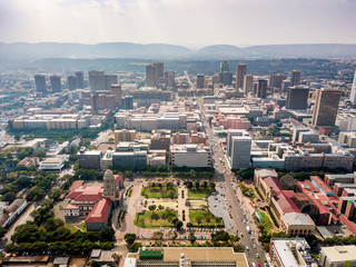 Wall Mural - Aerial view of Pretoria downtown, capital city of South Africa