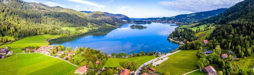 Schliersee Lake Panorama Aerial Shot. Bavaria, Germany Fototapete